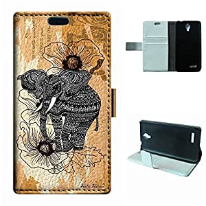 SoloShow® New Alcatel One Touch Idol 2 Mini 6016 6016A 6016D 6016E 6016X Case Elephant Aztec Andes Tribal Pattern Luxury Wallet PU Leather Case Flip Cover Built-in Card Slots