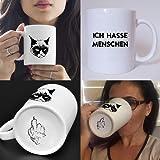 Katzen Tasse mit Spruch - Ich hasse Menschen Frühstück - Kaffeetasse - lustig - Arbeit - Büro - Geschenk