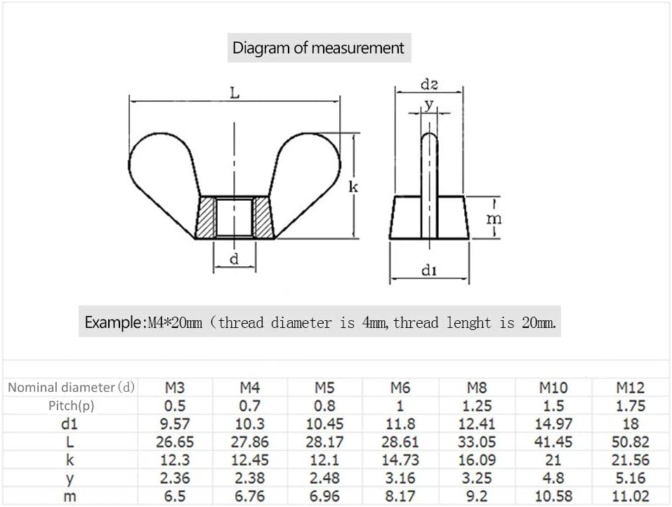YINSONG Messing Fl/ügelmuttern - Messing Gewindestift M4 M5 M6 M8 M10 M12 M14 M16 M20, Gold, M5 (10 PCS