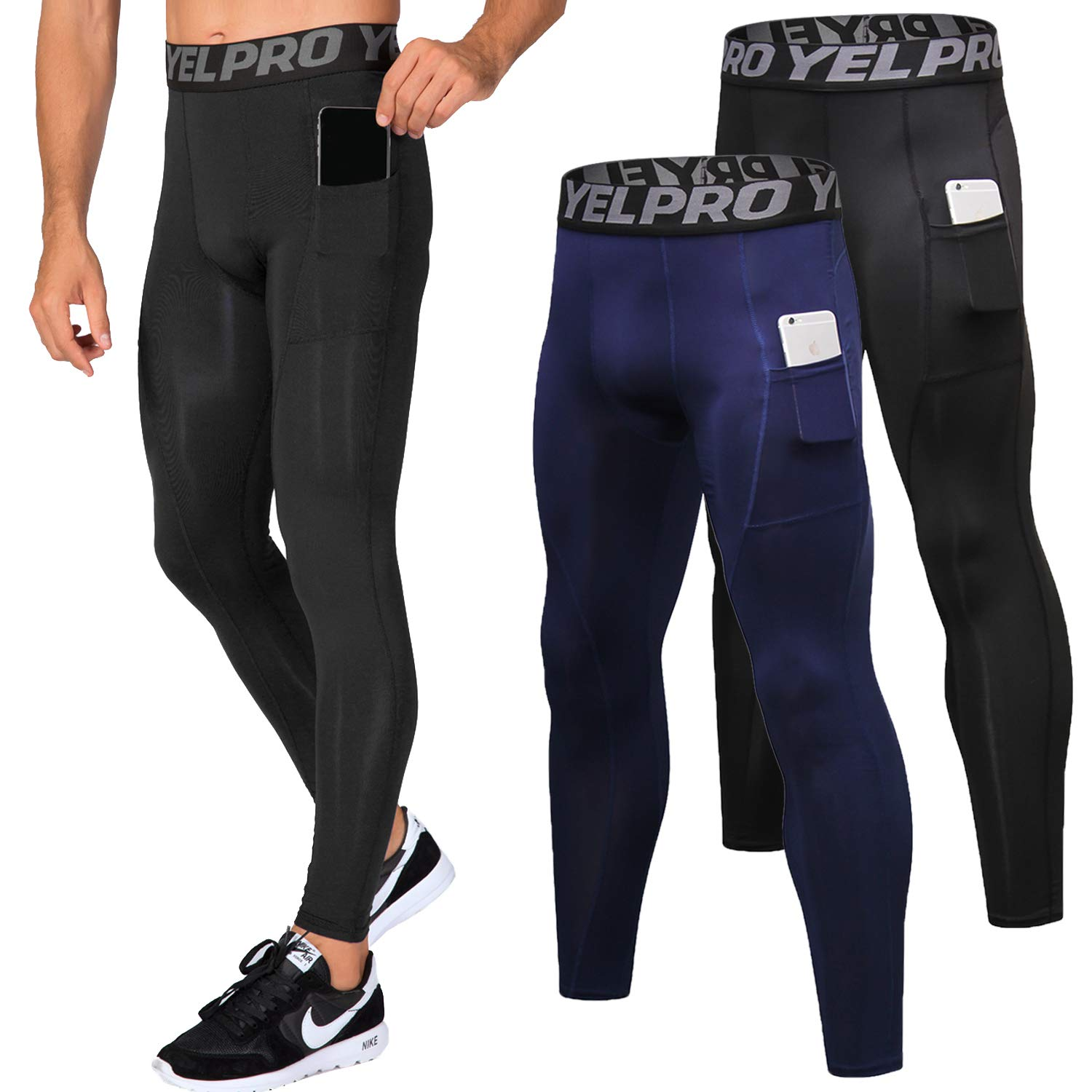 Lavento Men's Compression Pants Baselayer Cool Dry Pocket Running Ankle Leggings Active Tights (2 Pack-3911 Black/Navy Blue,X-Large) by Lavento