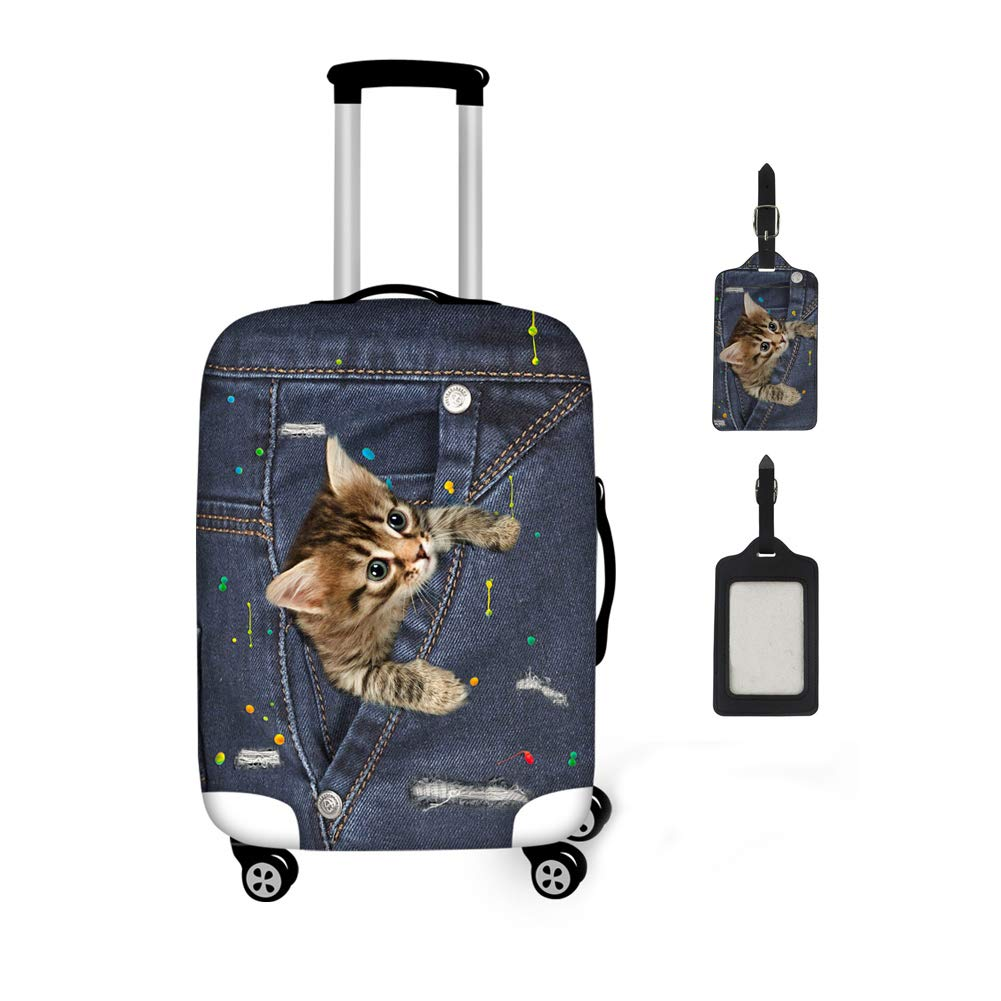 Coloranimal Black Denim Animal Cat Luggage Cover with Suitcase Label 2 Piece Set for 18-22 Inch Trunk Case by Coloranimal (Image #1)