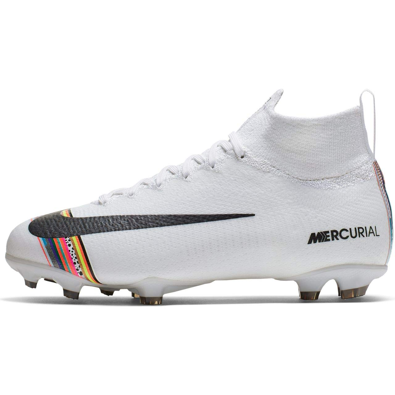 Nike Youth Mercurial Superfly 6 CR7 FG Soccer Cleats (4, White/Black-Pure Platinum)