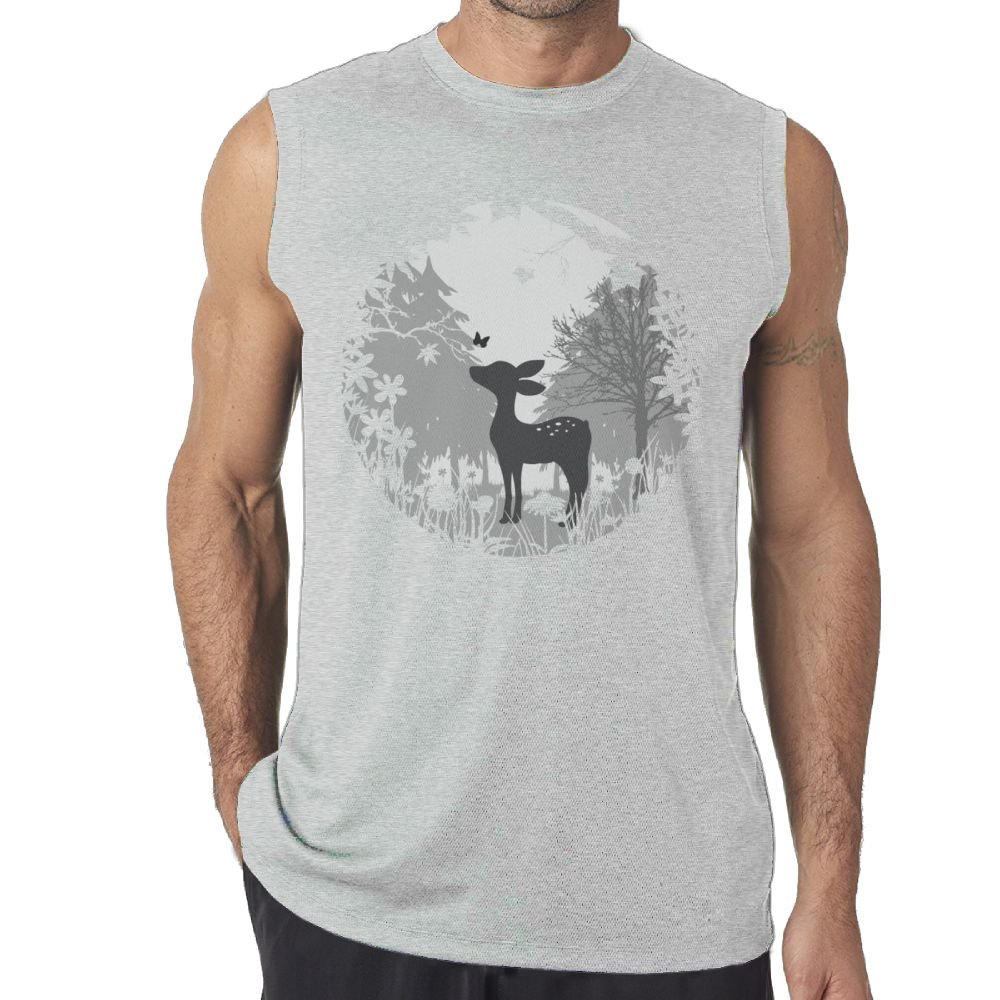 Oopp Jfhg Tanks Tops Sleeveless T-Shirts Fit Mens Deer Forest Tree Casual