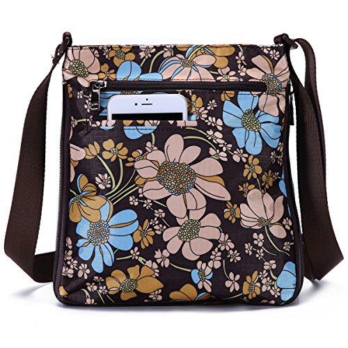 Bag Pocket with Crossbody Flower Purse STUOYE Coffee Adjustable Mutil Sun Zipper Nylon 5XYgwnpq