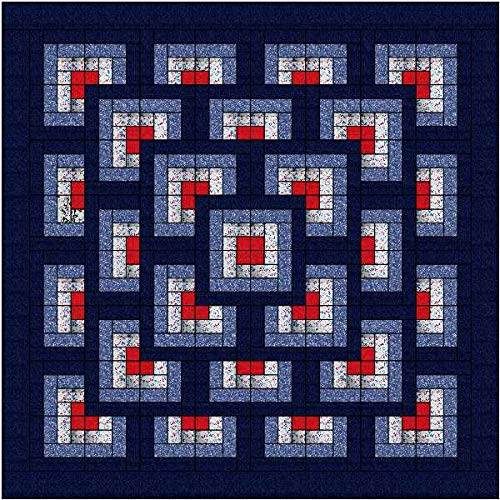 Easy Quilt Kit Boxed Maze/Patriotic/Expedited Shipping/Queen by Material Maven