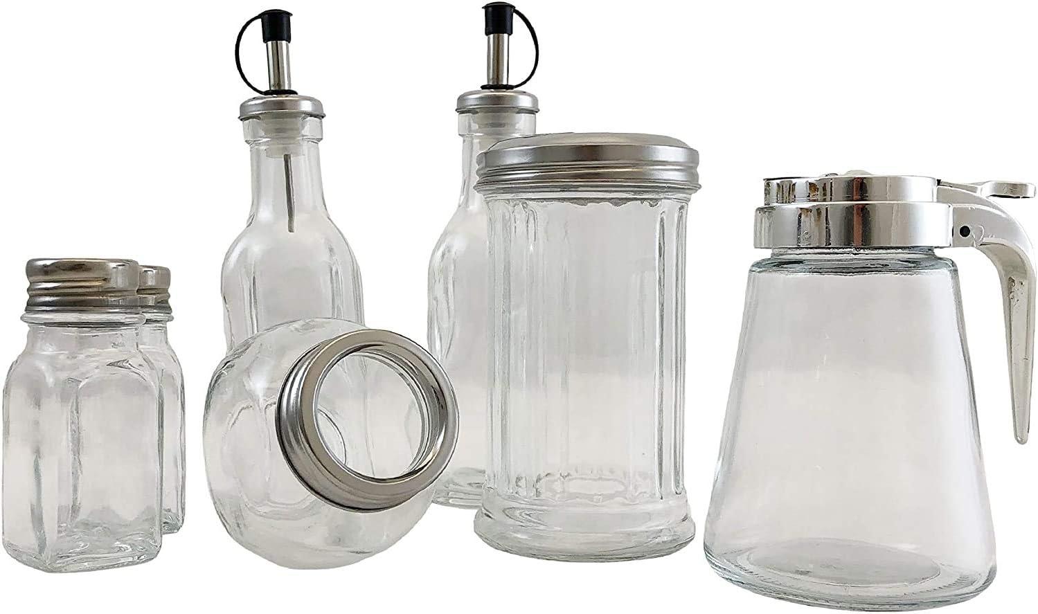Sugar Dispenser /& Syrup Jar Spice Jar 7 Piece Durable Condiment Set Glass Bodies with Stainless Steel Tops Oil /& Vinegar Cruet Salt /& Pepper Shaker
