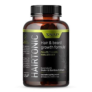 Hair Growth Supplement for Men - Grow Hair, Stop Hair Loss & Regrow Hair, Beard Growth, Skin and Nail Vitamin - Mens Hair Regrowth with Biotin for Men, Kelp, Bamboo & More (60 Capsules)