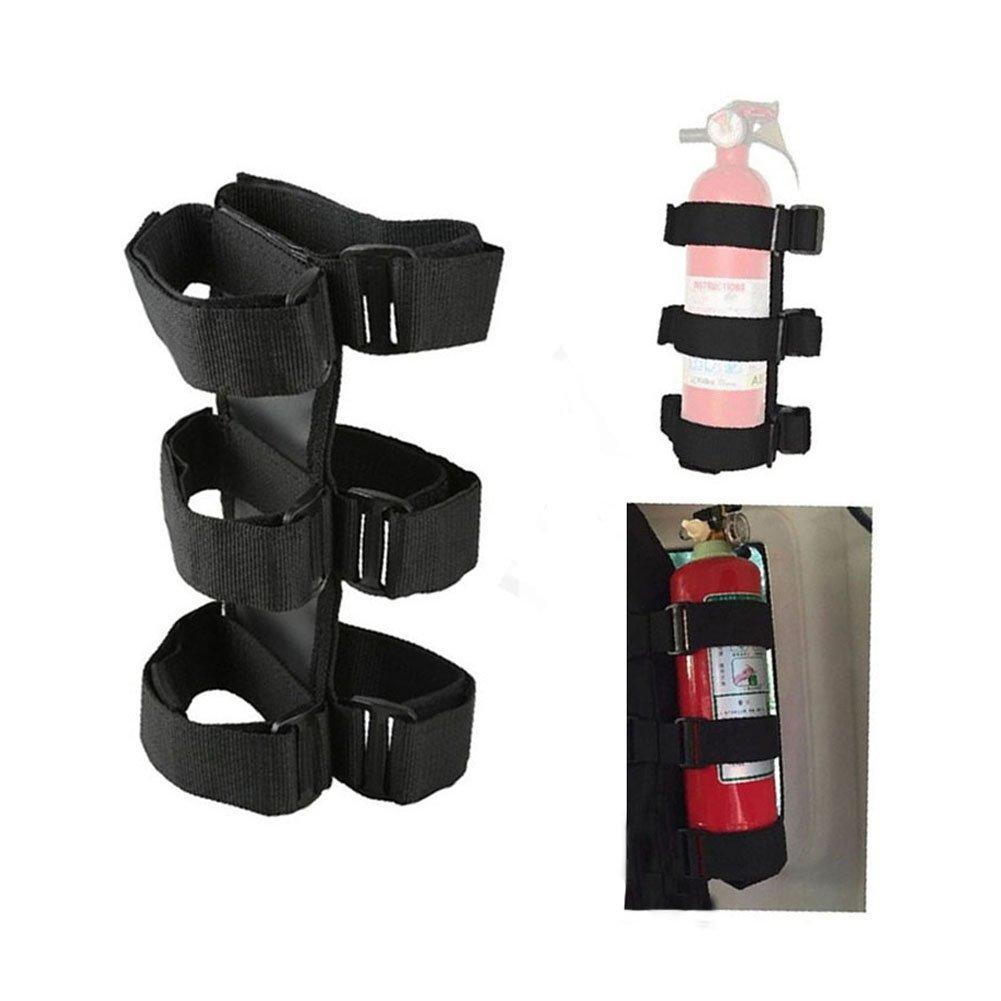 KAMSOL Velcro Stick SUV Jeep Roll Bar Car Fire Extinguisher Holder Bandage with Adjustable Straps (Black)