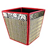 chantubtimplaza Waste Basket Thai Elephant Silk Reed Paper Bin Home Decor Red Color