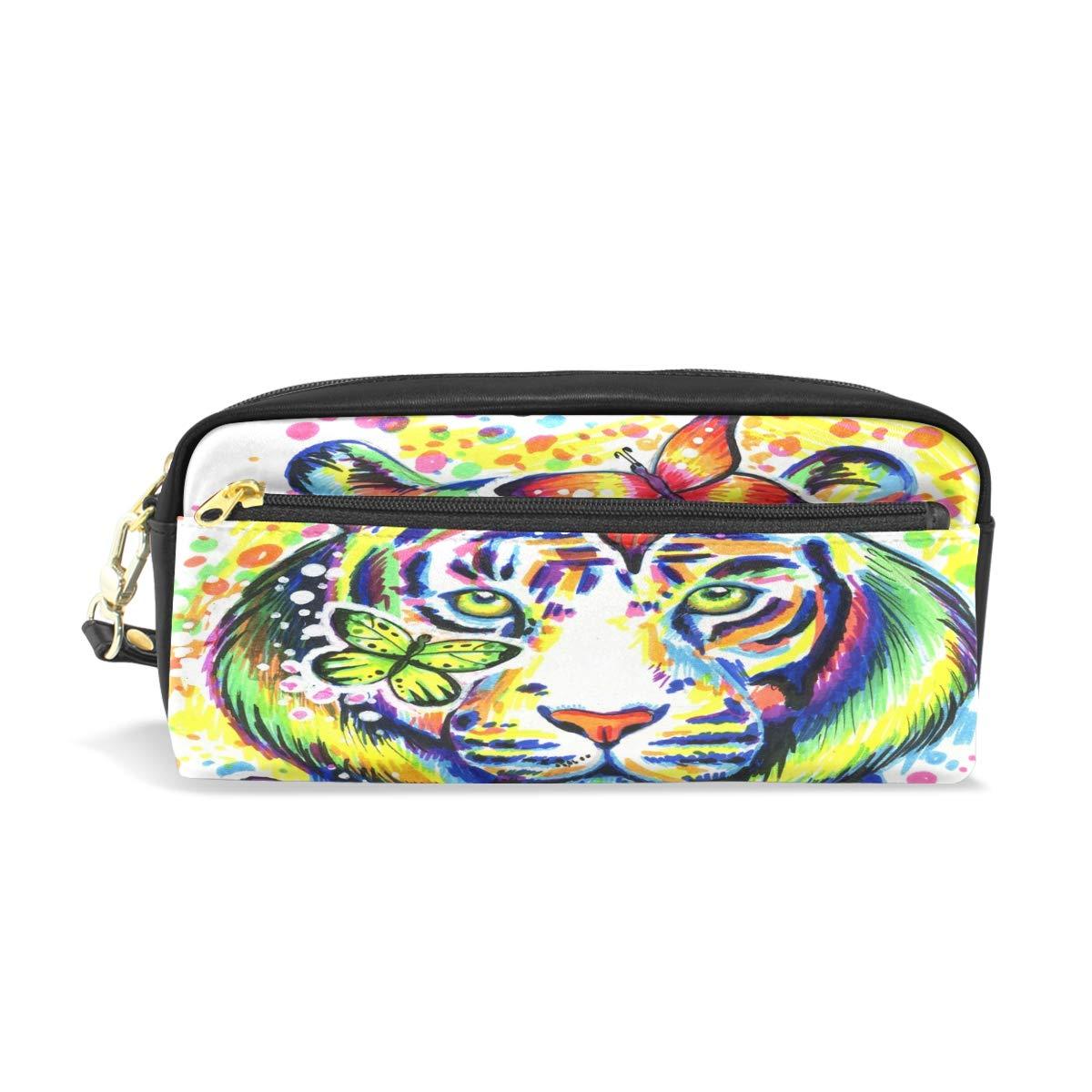 Funnyy - Estuche de piel cremallera sintética con cremallera piel para lápices, diseño de cara de tigre y mariposas 82d01c