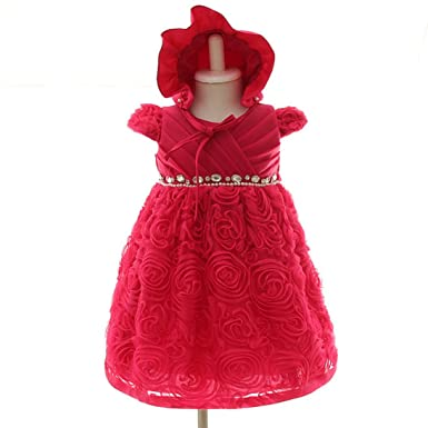 Amazon.com  Snowskite Baby Girls Fuchsia Cap Sleeves Bonnet Baptism ... cbcaccae0e0