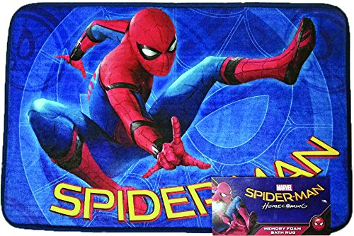 All New Style Disney Marvel Product 17 x 24 inch Memory Foam Mat or 54 x 80 inch Super Soft Area RUG non Slip Backing kids toddler kindermat bath bed living (Spiderman, 17x24 Memory Mat) by FOHOG