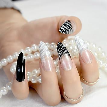 Amazon.com : Pure Black Candy Fake Nails Kit Extra Long Sharp STILETTO Full Wrap False Acrylic Nail Easy DIY Salon Tip With Glue Sticker Z931 Z749 : Beauty
