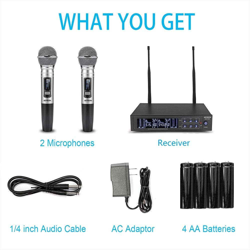 GEARDON Dual Wireless Microphone System, 200 Channel UHF Metal Cordless Handheld Mic Set with 250ft Long Range Professional Performance for Presentation/Church/Karaoke by GEARDON (Image #7)