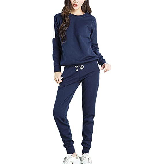 Desshok Femme Jogging Survêtement Ensembles Casual Blouson Sweat-Shirt +  Pantalons Sportswear Sports Sweat- 12e2e2abfbf