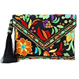 MARY FRANCES Beauty And The Beach, Black Floral Embroidered Crossbody Envelope Clutch Handbag