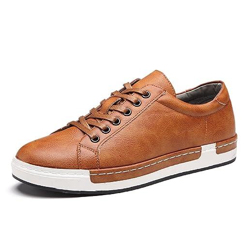 e80ed1fef Hombre Zapatos de Cuero Cordones Boda con Cordones de Zapatos Planos de  Vestir de Negocios Oxfords Amarillo 46: Amazon.es: Zapatos y complementos