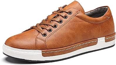Zapatos de Cordones para Hombre Conducción Zapatillas Cuero Casual Shoes Attività Commerciale Sneakers Negro Gris Marrón Amarillo 38-48