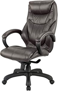 Nicer Furniture Genuine Leather High Back Executive Chair, Black Real Leather
