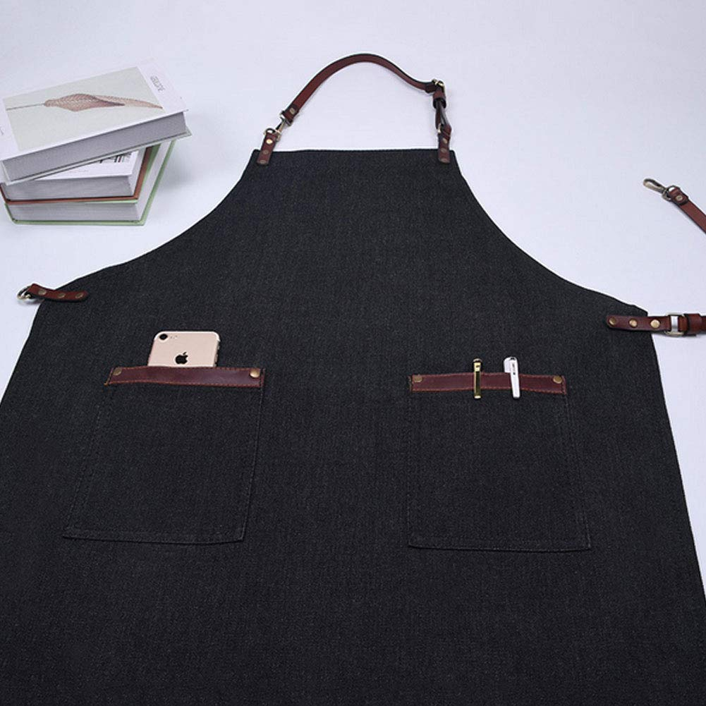 MOXIN Carpenter Apron Soft and Ventilated Canvas Waterproof Function Suit for Kitchen, Garden, Pottery, Garage Tool Work Aprons Painting Pockets,Black
