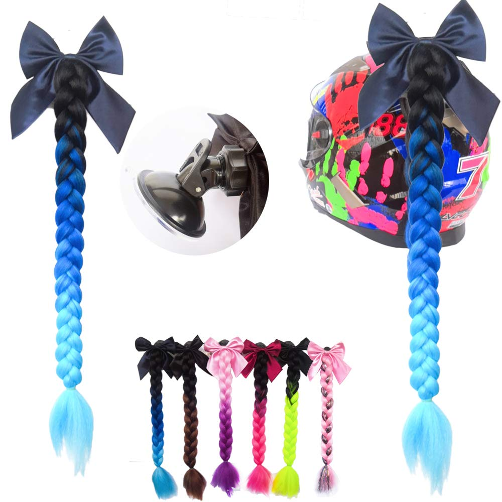 3T-SISTER Bowknot Helm geflochtener Pferdeschwanz Motorrad Fahrrad Helm Haar Flauschige Haarteile f/ür Erwachsene//Rosa
