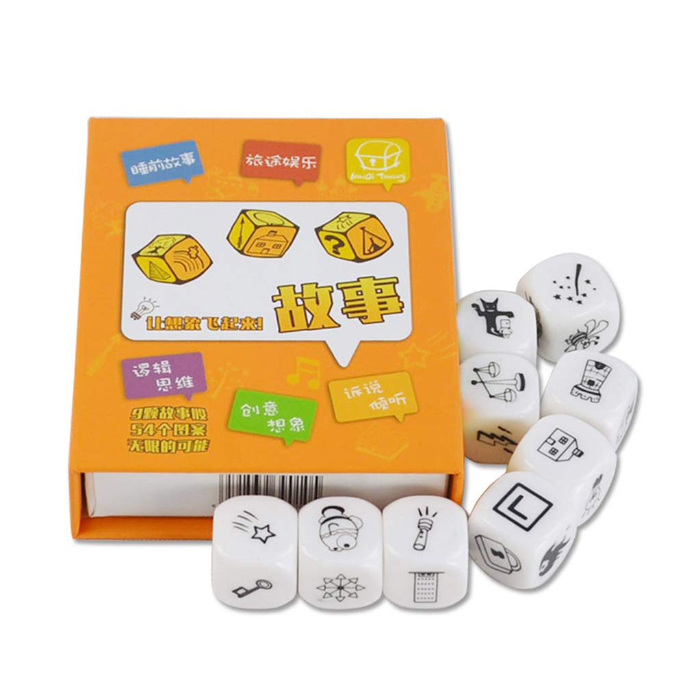 9Pcs Dice Creative Story Tells Family Reunion Children and Children's Intelligence Toys,Educational, Early Development, Sport, Indoor Toysfor Ages 2, 3, 4, 5 Years Old, Children, Toddlers, Boys