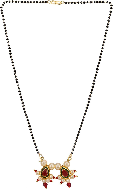 Efulgenz Mangalsutra - Collar con Colgante de Perlas de Color Negro y Dorado, Estilo étnico Antiguo