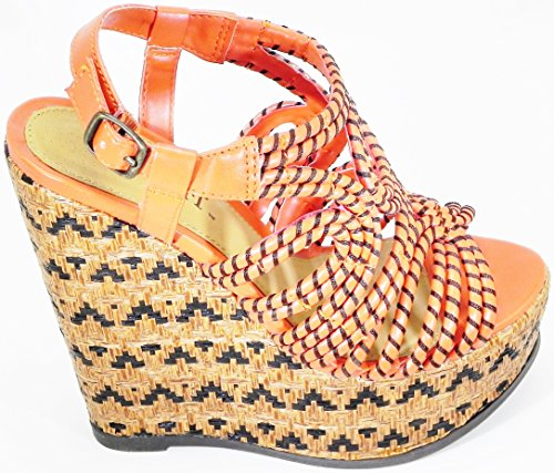 Orange Buuckle Orange Women Open Plat Form Toe Sling Sandal Shoes Strapy Heel Back Wedge fwwZdE