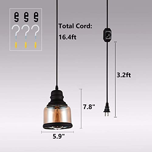 HMVPL Glass Hanging Lights with Plug in Cord and On Off Dimmer Switch, Industrial Edison Vintage Swag Pendant Lamps for Kitchen Island Table Dining Room Bedroom Hallway