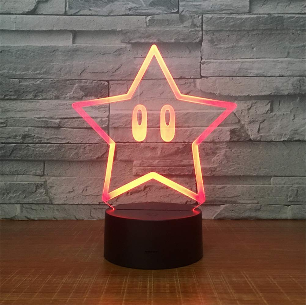 WBYD 3D Lamp LED Night Light Optical Illusion 7 Colour Changing USB Touch Button and Intelligent Remote Control Desk Table Lighting Nice Gift Home Office Decorations Toys(Pentagram)