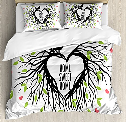 Ambesonne Tree of Life Duvet Cover Set King Size, Heart Shaped Bird Nest Sweet Home Quote Hope Family Partners in Nature, Decorative 3 Piece Bedding Set with 2 Pillow Shams, Black Green Pink