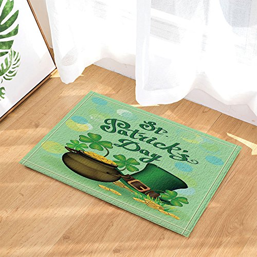 NYMB Spring Holiday Gifts Decor, Shamrock Leaves and Hat for St. Patrick's Day Bath Rugs, Non-Slip Doormat Floor Entryways Indoor Front Door Mat, Kids Bath Mat, 15.7x23.6in, Bathroom Accessories by NYMB