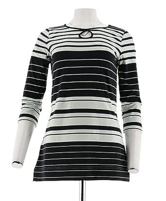 d61164586ba84 Liz Claiborne NY 3 4 SLV Striped Tee Keyhole A262180 at Amazon Women s  Clothing store