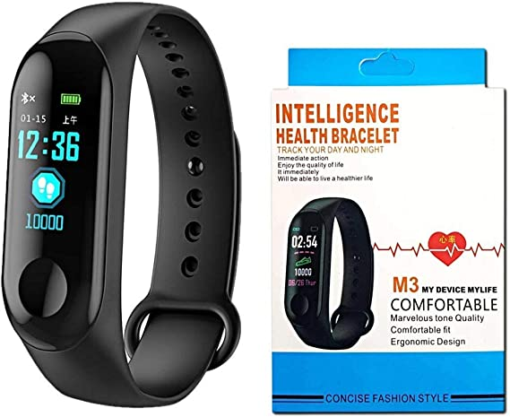 M3 Intelligence Bluetooth Health Wrist Smart Band Watch Monitor/Smart Bracelet/Health Bracelet/Activity Tracker/Smart Fitness Band Compatible for All ...