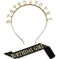 Birthday Headpiece Girl Tiara Headband Birthday Satin Sash for Party Decorations Supplies