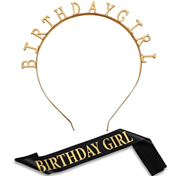 Zonon Tocado de Cumpleaños Diadema Tiara de Niñas Banda de Satén de Cumpleaños para Suministros Decoración de Fiesta (Oro)