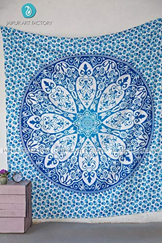 Jaipur Art Factory Mandala Tapestry Indian Cotton Wall Hanging Decor Bohemian Hippie Twin (Tantra, Queen(93