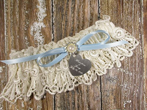 Ivory Wedding Garter in Lace with a Blue Bow, Pearls, Rhinestones and Personalized Engraving ()