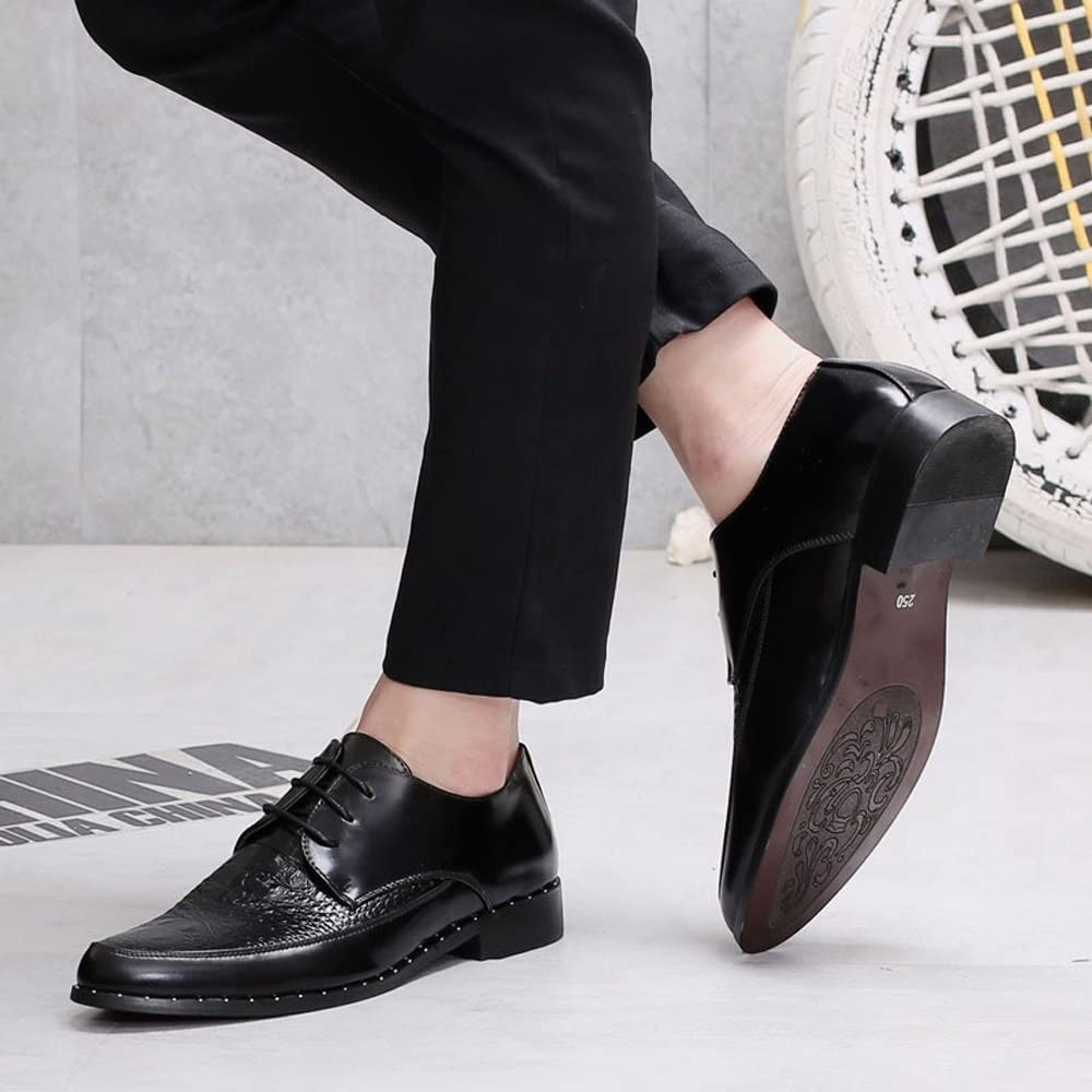 Mens Loafers Leather Upper Dress Shoes Lace Up Slip-ons Low Top Ankle Shoes Color : Black, Size : 5.5 UK