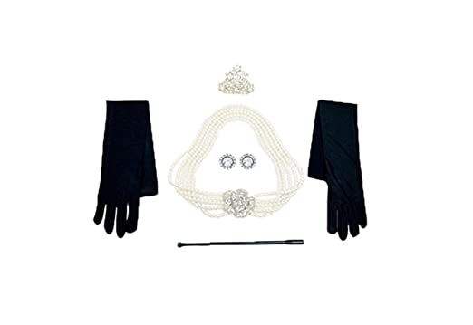 Audrey Hepburn Breakfast at Tiffany's Pearl Jewelry and Accessory Set flapper Costume for Women qwUWqT3