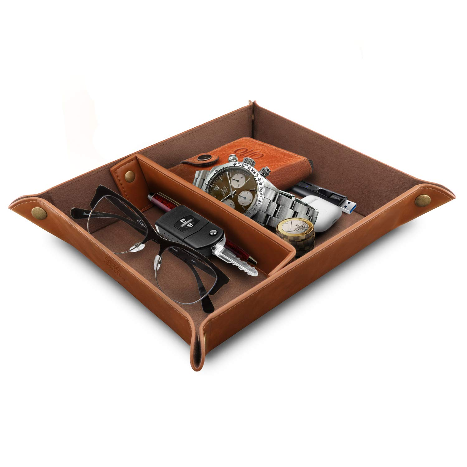 Londo Leather Tray Organizer Watches Coins Keys Light Brown Practical Storage Box for Wallets Cell Phones and Office Equipment