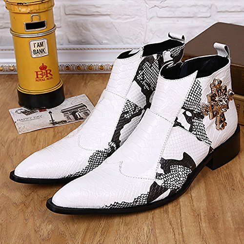 CXH-Botas Hua&X MenS Vintage Martin Botines Señaló Toe Botas Zapatos Zipper,Blanco,