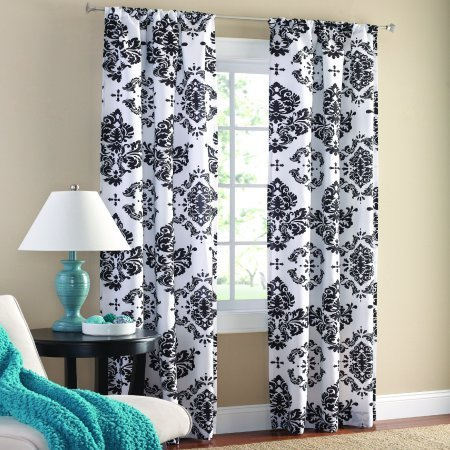 Classic Traditional French Country Black and White Damask Curtains Panels Set Window Treatments 63