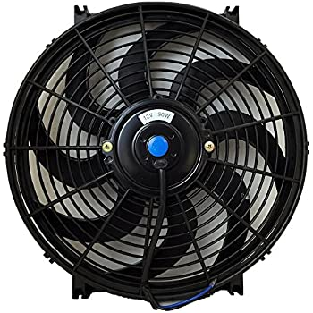 Upgr8 Universal High Performance 12V Slim Electric Cooling Radiator Fan with Fan Mounting Kit (14 Inch, Black)
