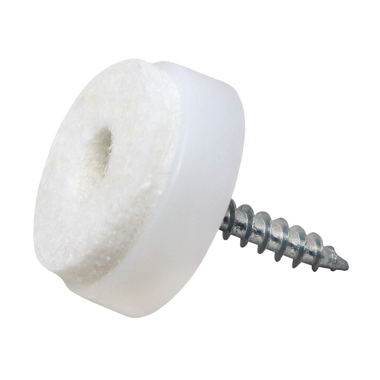 Adsamm 32 x Filzgleiter mit Schraube | Ø 20 mm | Braun | rund | Möbelgleiter zum Schrauben in Premium-Qualität Adsamm®