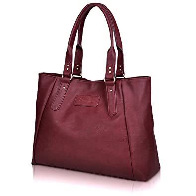 ZMSnow Designer PU Leather Tote Satchel Handbags Purse Bag for Women Girl Work Casual(ZMS-NB-101,Winered)