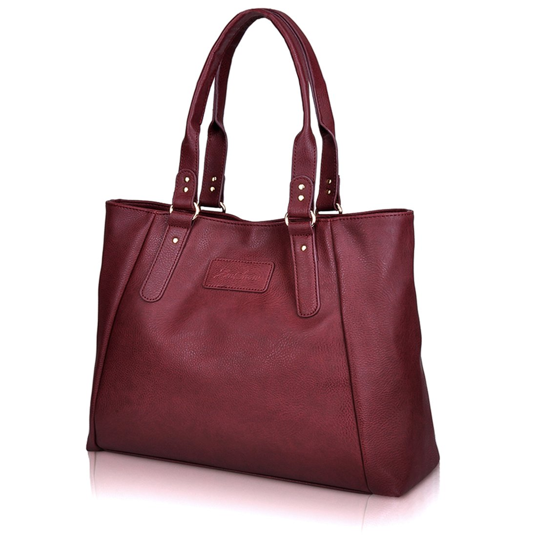 ZMSnow Women's PU Leather Handbags Lightweight Tote Casual Work Bag, 2-winered