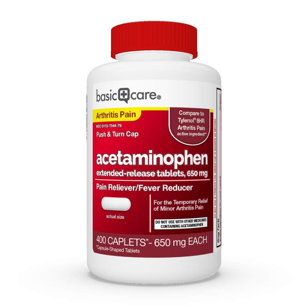Basic Care Acetaminophen Extended-Release Tablets, 650 mg, Arthritis Pain, 400 Count by Basic Care