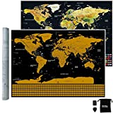 Scratch Map, Black with Golden Coating Scratch off World Map, Bright Colors Deluxe Edition Travel World Map for Poster Home Decor with Scratch Tools - Large 32.5 X 23.6 Inches