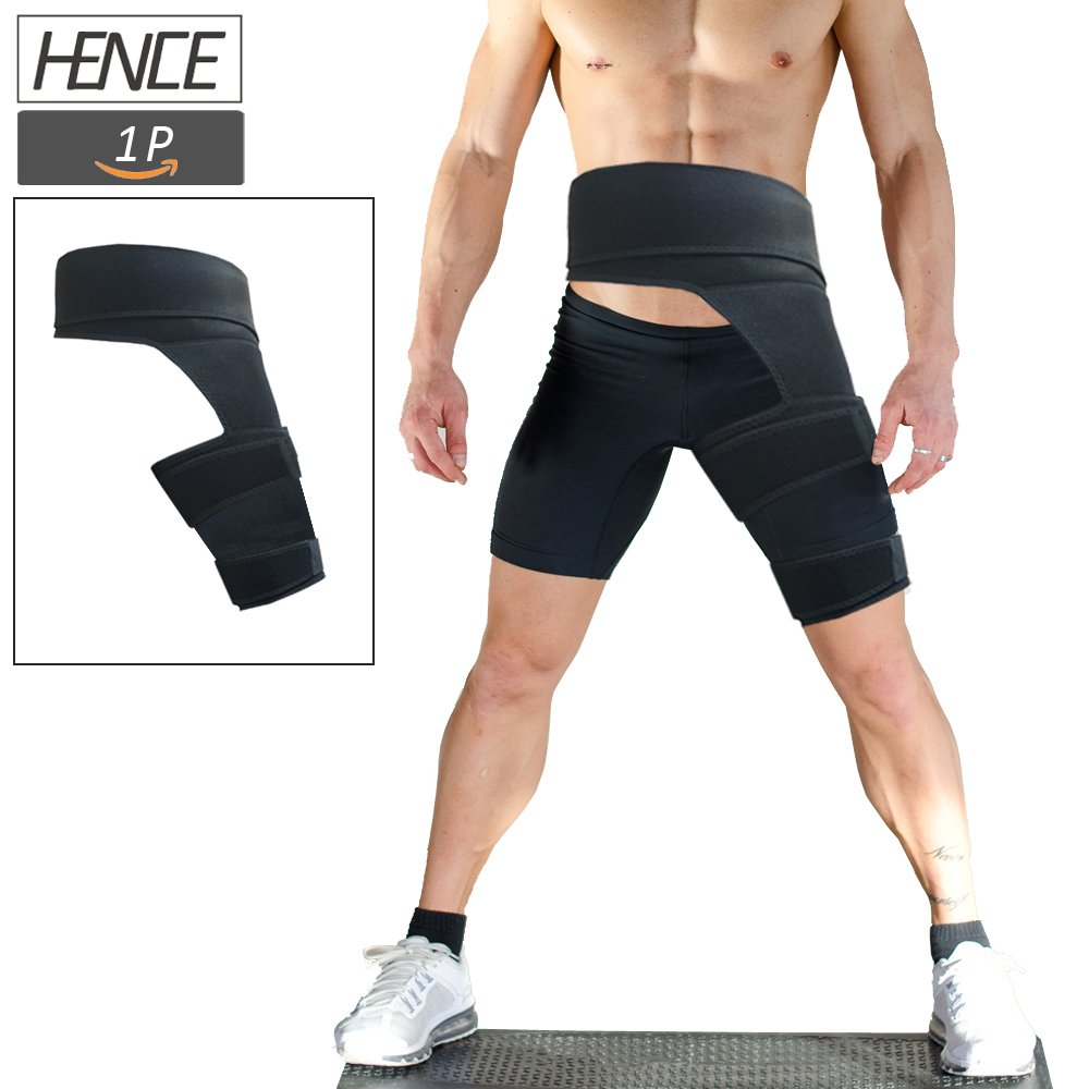 484bd28e58 Amazon.com: Thigh Groin Support and Hip Flexor Wrap Sciatica Brace Sciatic  Nerve Pain Relief Treatment Muscle Injury Recovery Adjustable Slimmer  Trimmer ...